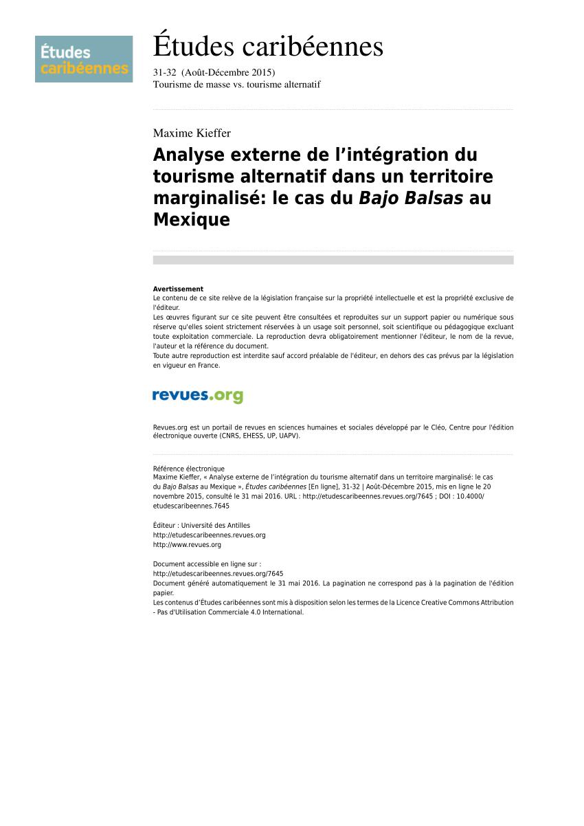 PDF) Analyse externe de l'intégration du tourisme alternatif ...