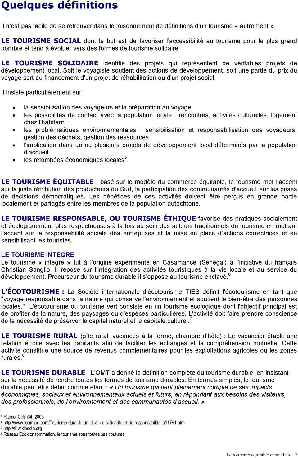 LE TOURISME EQUITABLE ET SOLIDAIRE - PDF Free Download